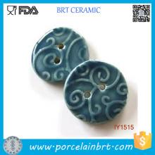 Boutons de couture en céramique bleu profond décoratifs à la main
