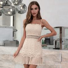 Weixin Shein Designer Lace Jacquard Ruffle Halter Cut-Out Mini Wrap Bodycon Dresses