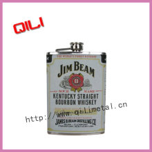 Stainless Steel hip Flask with heat-transferred logo