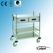2 Schubladen Edelstahl Krankenhaus Medical Instrument Trolley (Q-2)