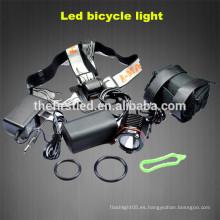 Venta de fábrica Cree xml t6 800-1200Lumen linterna LED bicicleta frontal