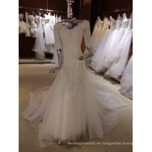 Vintage vestido de boda de manga larga con cuello en V