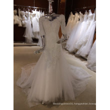 Vintage Long Sleeve Wedding Dress with V Neck