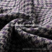 Tecido de jaqueta blazer de tweed de lã preto e cinza roxo