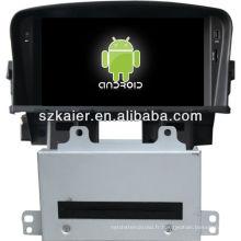 Version 4.2 Système Android lecteur dvd de voiture pour Chevrolet Cruze avec GPS, Bluetooth, 3G, ipod, jeux, double zone, contrôle du volant