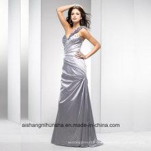 Frauen One-Shoulder-Satin-Abend-Partei-Abschlussball-Kleid