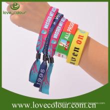 Fábrica de pulseras baratas personalizadas a medida / tela textil pulsera