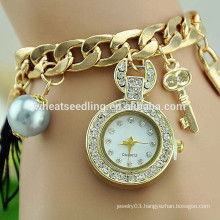 2015 Excellent lady braided pearl key pendant gold chain diamond wholesale china watch
