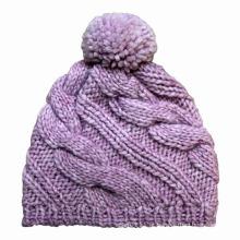 Senhora moda pom pom malha de lã inverno quente gorro (yky3106)