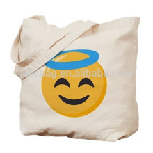 Large emoji recycled cotton rope handle beach grocery tote bag customized wholesale