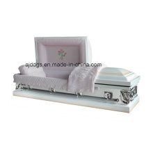 White Shaded Pink Finish Casket