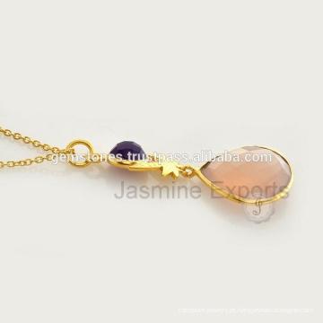 Colar de pedras preciosas à ouro feito à mão Atacado Vermeil Bezel Gemstone Necklaces Fornecedores