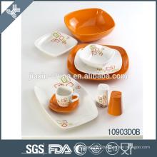 2015 new design white and orange ceramic dinner set