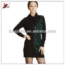 Vestidos de tricô de caxemira feminino com gola alta