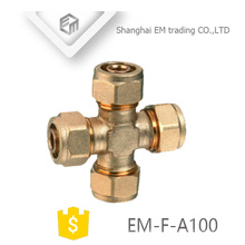 EM-F-A100 Brass male thread equal cross shaped compression pipe fitting