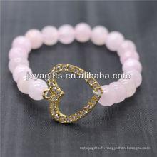 Vente en gros Diamante Heart avec 8mm de bracelet en pierre semi-précieuse en pierre