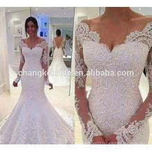 Luxury Mermaid V Neckline Sequin White Color Brazilian Long Sleeve Lace Wedding Dresses Online