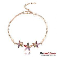 Bracelets multicolores plaqués or en fleurs féminines (CBR0010-C)