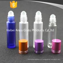 8ml 10ml Frosted Blue Glass Roll em garrafa de óleo essencial com Black Cap