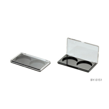 Concise Black 2 Compartments Compact Powder Case