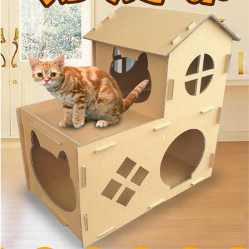 cardboard box playhouse for cats