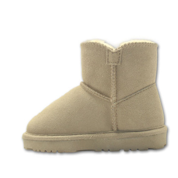 Wool Lined Cozy Kids Ankle Boots Tan