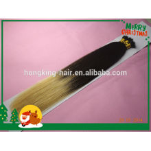 100% human hair two tone ombre color nano hair extensions