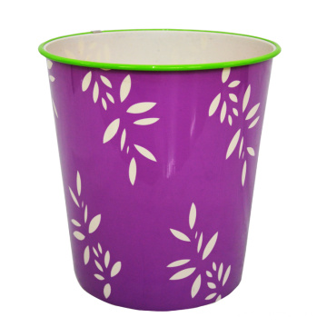 Leaf Pattern Printed Plastic Purple Open Top Waste Bin (B06-822)
