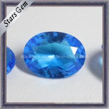 Belleza Azul Oval forma de cristal de cuentas de cristal