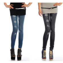 Fashion Sexy Polyester Slim Printed Ripped Jeggings (SR8211)
