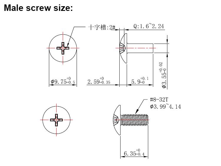 male screw size