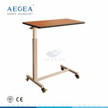 AG-OBT007 table à manger en bois réglable hôpital table de chevet avec des roues