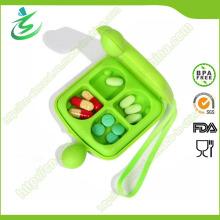 Boîte à pilules à double face à 4 cas, boîte à comprimés quotidienne en gros Aquare