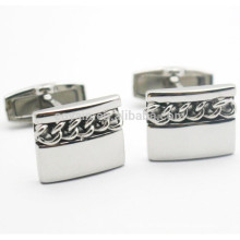 Rectangle Shaped Blank Silver 316L Stainless Steel Chain Cufflinks