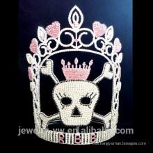 Corona cristalina completa del cráneo de Halloween, corona al por mayor de Halloween