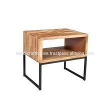 Étagère industrielle en bois simple en bloc avec pattes métalliques table de chevet