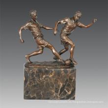 Estatua de Deportes Fútbol 2 Jugadores Escultura de Bronce, Milo TPE-768