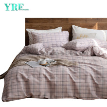 Home Textile Cotton Bed Sheet Set Fashion Style Modern Style Light Pink Plaid
