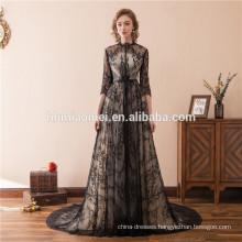 2018 Suzhou Factory Wholesale Floor Length Black Beaded Hup Classy Porn Dubai Evening Dress