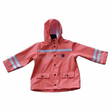 PU Hooded Winter Reflektierende Regenmantel für Baby / Kind