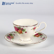 Runde Form Moderne europäische Qualität Fine Bone China Kaffeetasse und Untertasse
