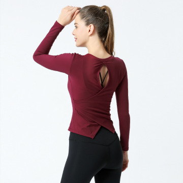 Open Back Workout Top Shirts Yoga-Oberteil