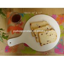 2015 A bandeja de bolo de cerâmica branca a mais nova da porcelana / placa brancas da pizza para o hotel