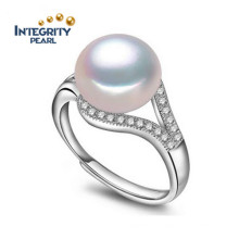 925 Silver Pearl Rings Fashion Pearl Ring Designs 9-10mm AAA Button Pearl Ring Jewelry