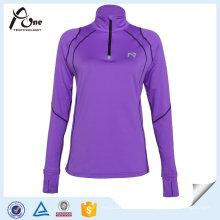 Frauen-Viertel-Reißverschluss-Pullover Sexy Hemden Gym-Abnutzung