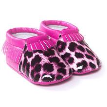 Borlas de moda Leopard Infant Toddler Moccasins Zapatos antideslizantes para bebés