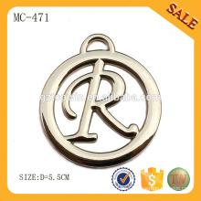 MC471 Круглый пользовательский логотип повесить металлические метки для одежды бисер / сумочки