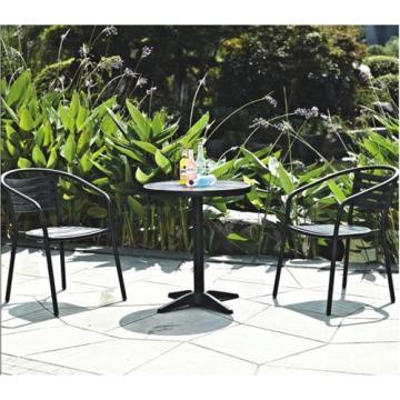 Exterior imitación madera muebles 3pc chat conjunto negro color de madera