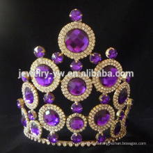 El desfile púrpura de la tiara de la boda del diamante del Rhinestone de la manera corona para la venta