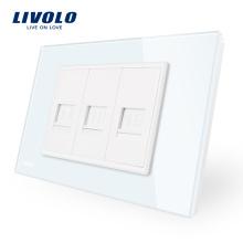 Téléphone de fabricant Livolo et prise pour ordinateur 2 gangs avec panneau en verre de luxe nacré blanc VL-C91T2C-11/12